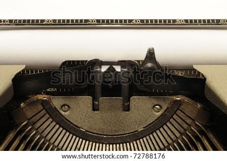 Closeup of old typewriter carriage circa 1950s - stock photo