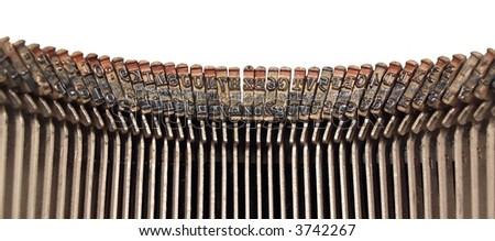 Closeup of old typewriter keys - stock photo