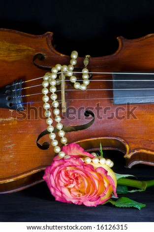Closeup of old violin, variegated pink and yellow rose, and a string of pearls on black background - stock photo