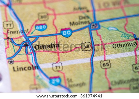 Closeup of Omaha on a geographical map. - stock photo