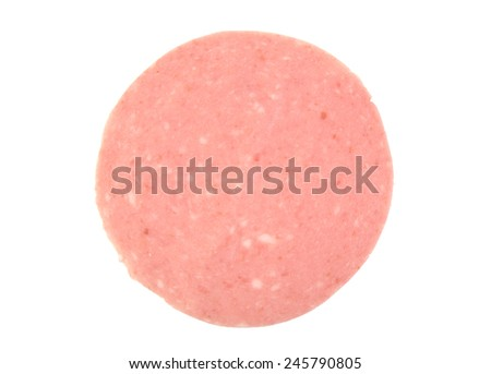 Closeup of one mortadela slice isolated on white background. Italian salami