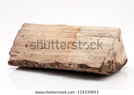 closeup of one single piece of firewood isolated on white background
