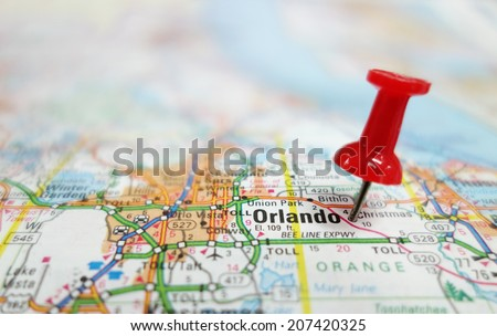 Closeup of Orlando Florida map and red tack                                - stock photo