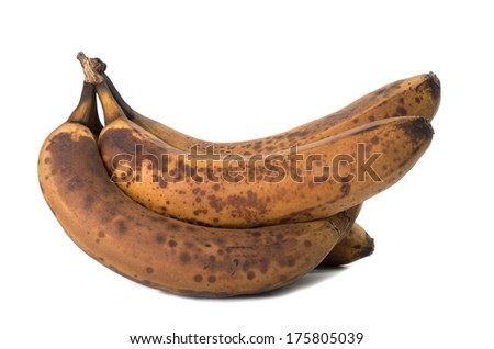 Closeup of overripe and old banana isolated on white  - stock photo