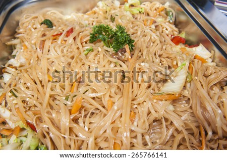 Closeup of Pad Thai chinese meal on display at a hotel restaurant buffet - stock photo