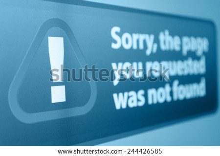 Closeup of Page Not Found sign in Internet Browser on LCD Screen - Shallow depth of field - stock photo