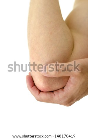 Closeup of painful elbow. Isolated over white background.