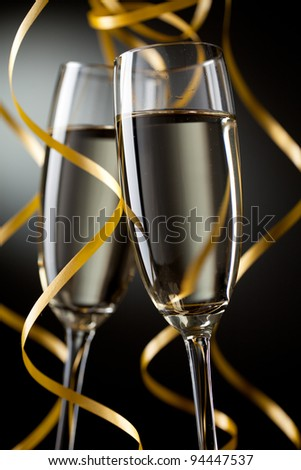 Closeup of pair glass with champagne - stock photo