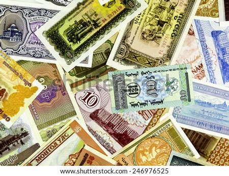 Closeup of paper money from all over the world - stock photo