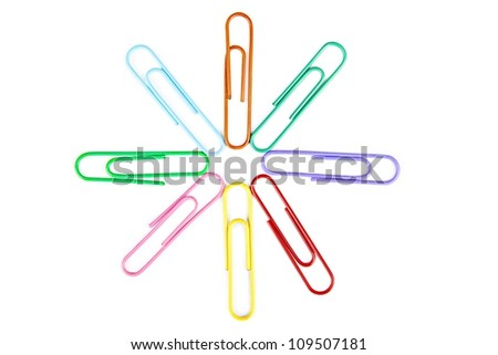 Closeup of paperclips shot in studio isolated on white