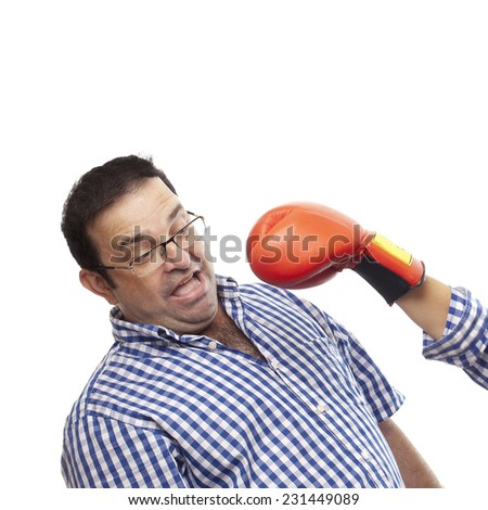 closeup of parent with boxing gloves - stock photo