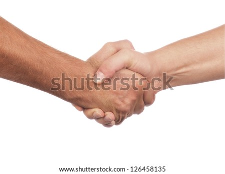 Closeup of people shaking hands isolated on white background - stock photo