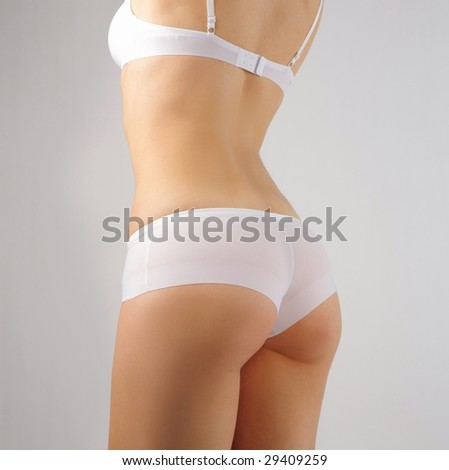 closeup of perfect female rear in white underwear