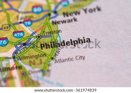 Closeup of Philadelphia on a geographical map. - stock photo