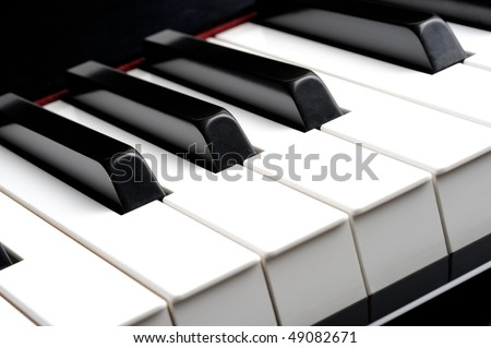 Closeup of piano keybord - stock photo