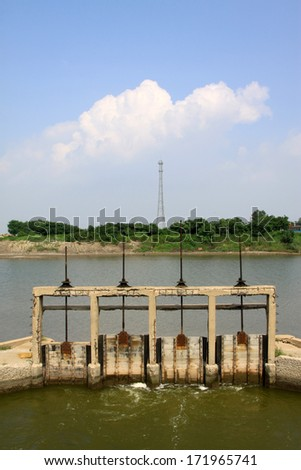 closeup of pictures, river lock door north china - stock photo