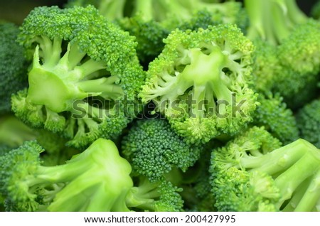 closeup of pieces of fresh broccoli in pot - stock photo