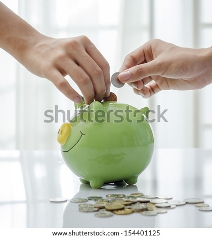 Closeup of piggy bank - stock photo