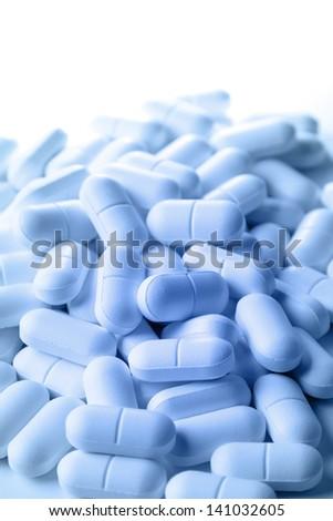 Closeup of pile of pills - stock photo