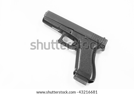 Closeup of pistol isolated over a white background - stock photo