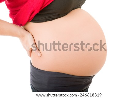 Closeup of pregnant woman at white background
