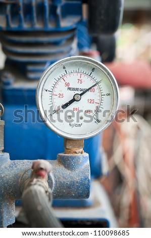 Closeup of pressure meter - stock photo