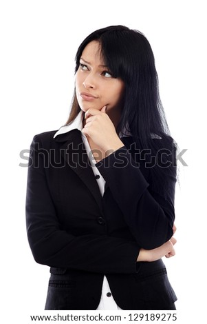 Closeup of pretty businesswoman with her hand at her chin, looking at the side of the image. Isolated on white background - stock photo