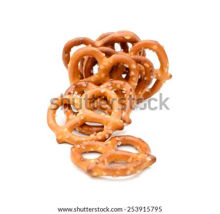 Closeup of pretzels isolated on white - stock photo