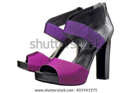 Closeup of purple high heels isolated on white background - stock photo