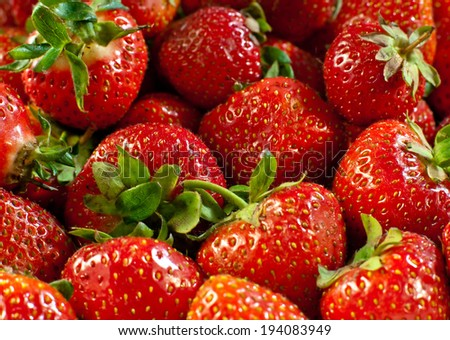 Closeup of red strawberries