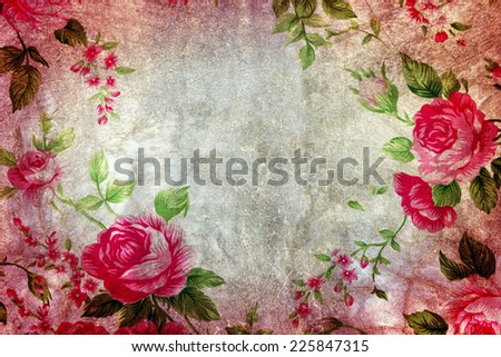 Closeup of retro rose fabric for grunge background.
