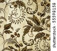 Closeup of retro tapestry fabric pattern with classical floral graphical  ornament  in brown tones on light-beige background. - stock photo