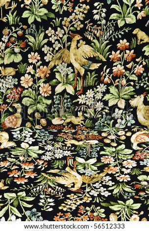 Closeup of retro tapestry fabric pattern with classical image of the colorful  flowers, birds and hares on black background.Vertical and horisontal surface together - stock photo