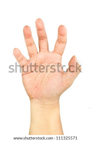 Closeup of right male hand isolated on white background