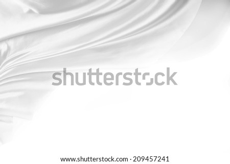 Closeup of rippled silk fabric. Copy space - stock photo