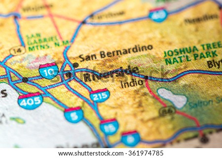 Closeup of Riverside on a geographical map. - stock photo