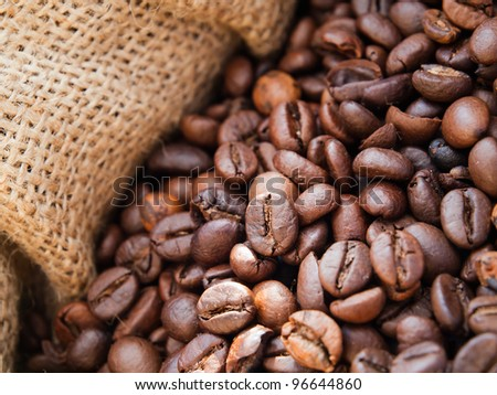 Closeup of roasted coffee beans in burlap sack - stock photo