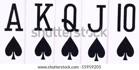 Closeup of rolal flush spades - stock photo