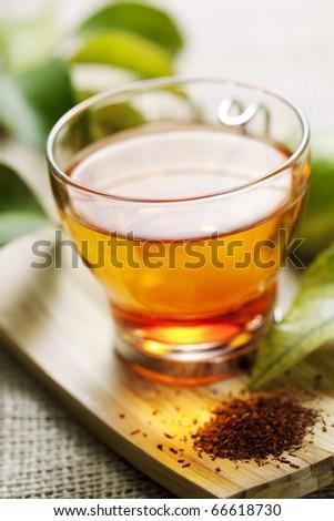 closeup of rooibos tea, shallow dof - stock photo