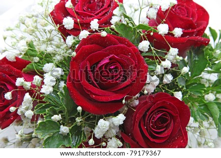 closeup of rose bouquet isolated on white using in wedding or any greeting ceremony - stock photo