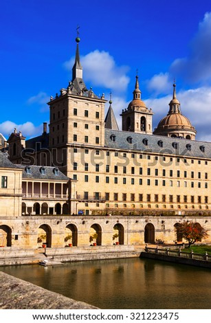 Closeup of Royal Palace in sunny autumn day. El Escorial, Spain