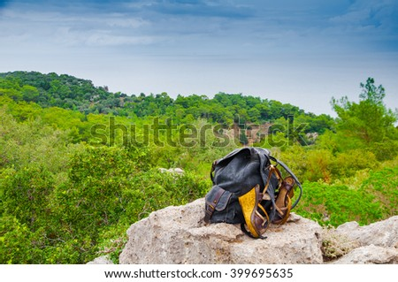 Closeup of rucksack left on the rock