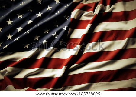 Closeup of ruffled American flag - stock photo