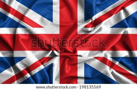 Closeup of ruffled British flag  - stock photo