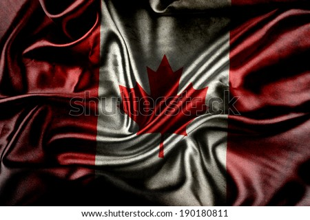 Closeup of ruffled Canadian flag  - stock photo