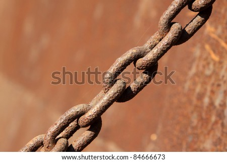 closeup of rust iron chains - stock photo