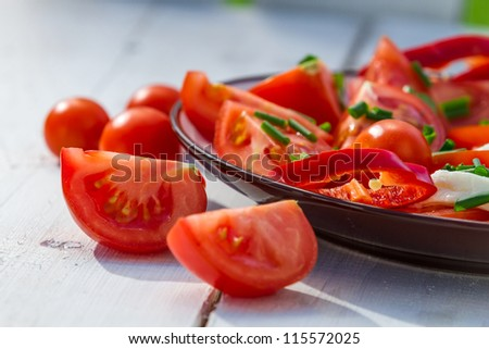 Closeup of salad made from tomato and mozzarella