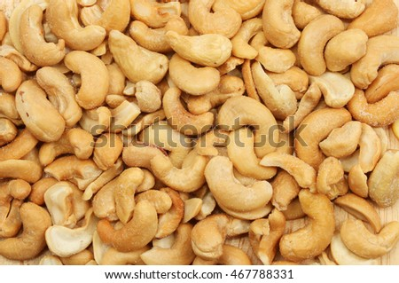 Closeup of salted cashew nuts