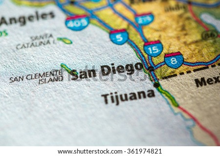 Closeup of San Diego on a geographical map. - stock photo