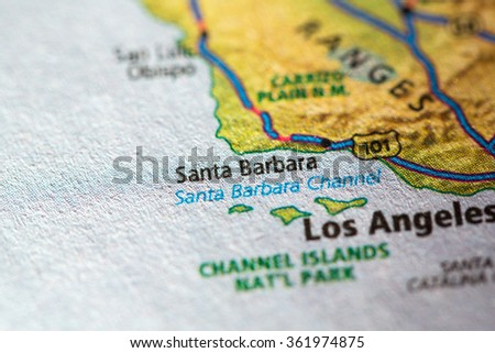 Closeup of Santa Barbara on a geographical map. - stock photo
